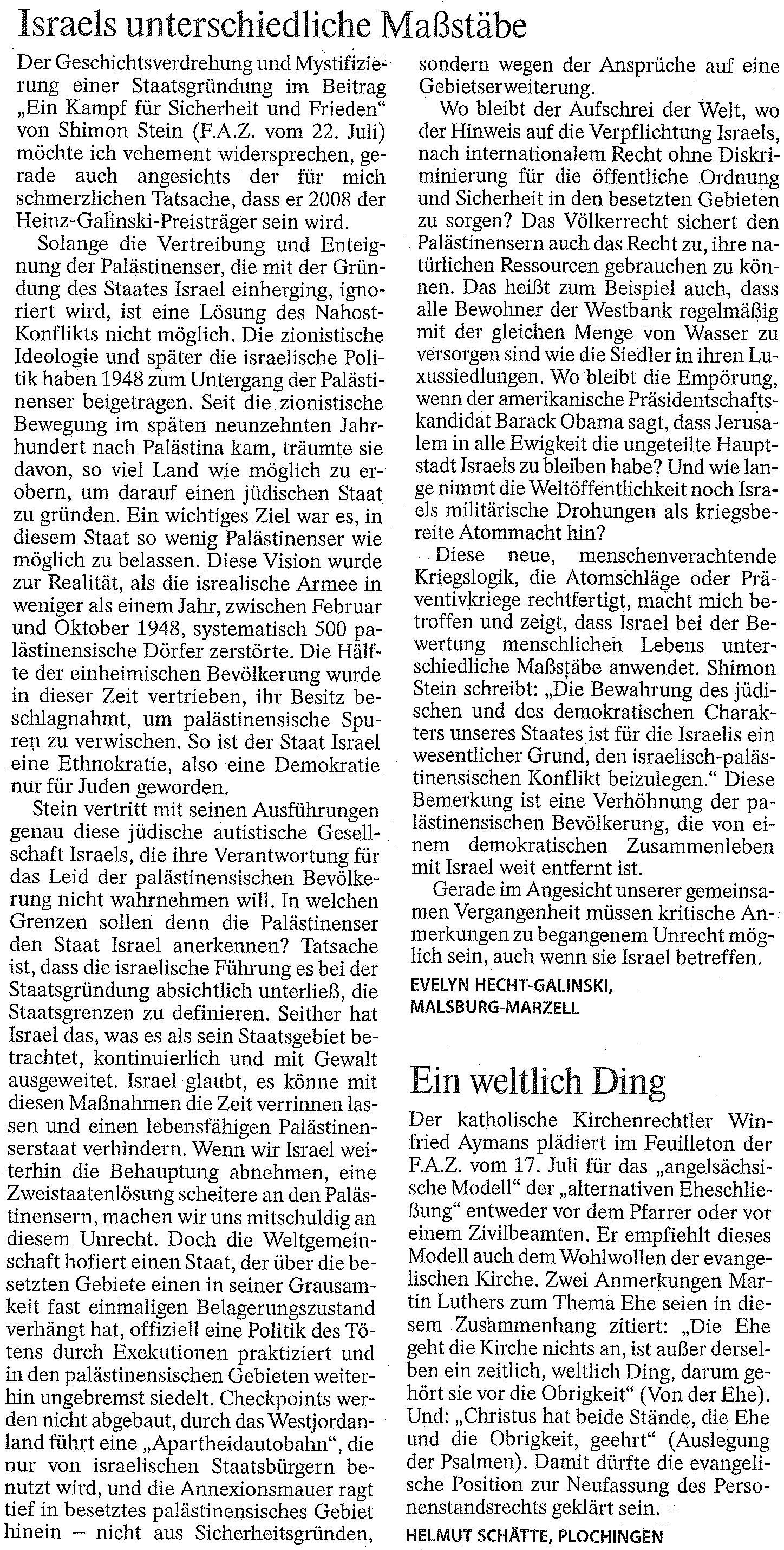 Evelyn Hecht-Galinskis Welt | Zeitung für Schland